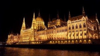 Hungarian Parliament Building along the Danube River (Budapest, Hungary)