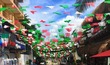 Palm tree street lined with Mexican flag colors white green and red banners and a Mexican flag on the side with blue sky.