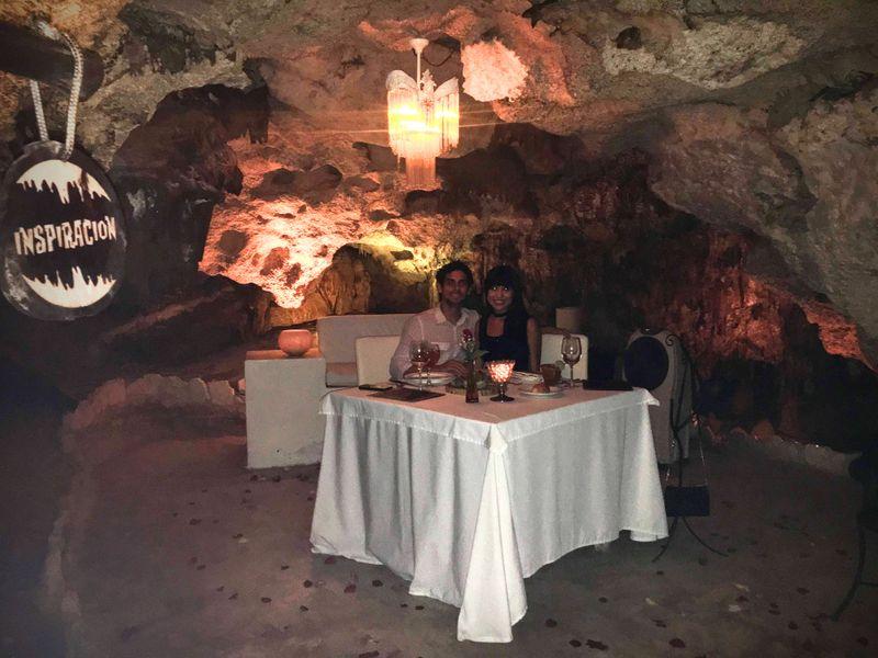 Dining in Cenote at Alux, Playa del Carmen