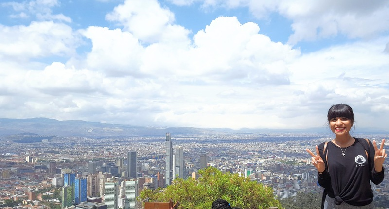 travel blogger hikes up to Monserrate for a view of Bogotá, Colombia.