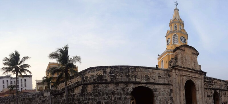 CLock tower entrance to the walled city in Cartagena