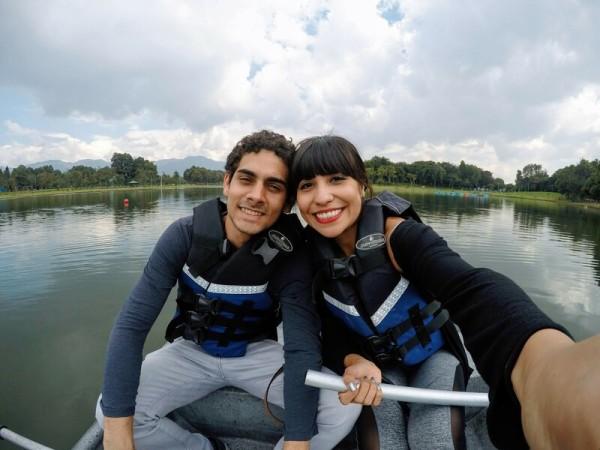Rowing boats at the lake in Parque de Los Novios in Bogotá, Colombia.