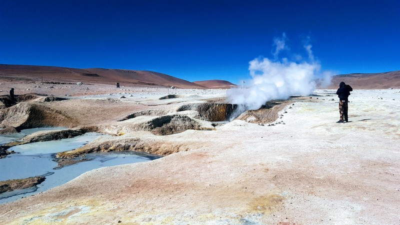 Active volcanic geysers at Sol de la Manana