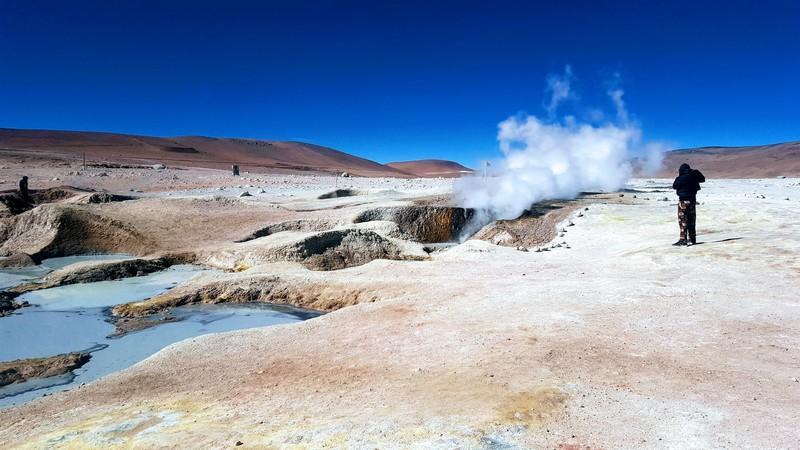 Active volcanic geysers at Sol de la Manana
